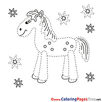 Stallion Children Painting by Number Colouring Page