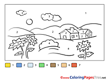 Village for Kids Painting by Number Colouring Page