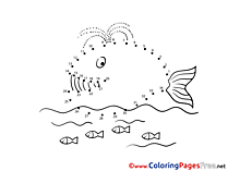 Whale Colouring Sheet download Painting by Number
