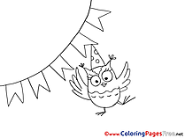 Flags Owl download Party Colouring Sheet free