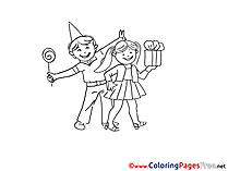 Gift Kids Colouring Sheet download free