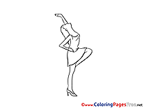 Girl free Party Colouring Page download