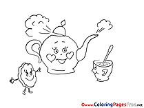 Kettle Cookie for Kids printable Colouring Page