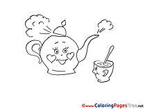 Kettle Cup of Tea for free Coloring Pages download