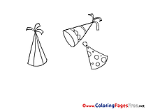 Party Caps for free Coloring Pages download