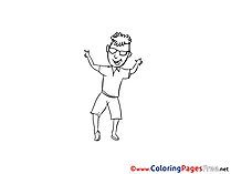 Party Dance Man Coloring Sheets download free