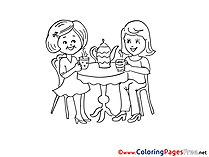 Tea Party for Children free Coloring Pages