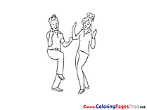 Youth Dancing Kids free Coloring Page