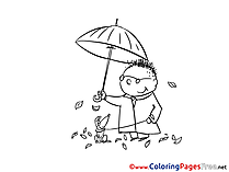 Autumn Man with Dog Colouring Page printable free