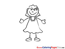 Beautiful Girl Colouring Sheet download free