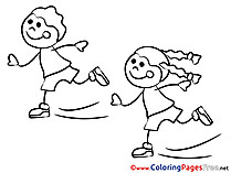 Coloring Sheets Girls on Skates download free