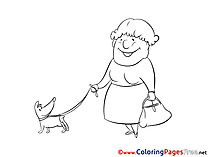 Dog and Old Woman printable Coloring Sheets download