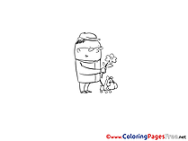 Flower Colouring Sheet Man with Dog download free