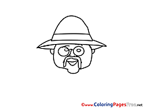 Glasses Coloring Sheets download free Old Man