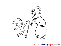 Grandmother with Boy download Colouring Sheet free