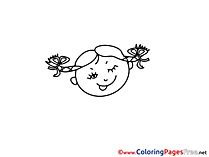 Head download Colouring Sheet Girl smiles free