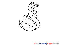 Head free printable Girl Coloring Sheets