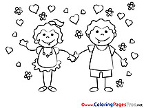 In Love download Colouring Sheet free Couple