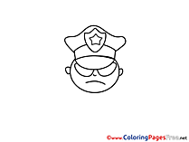 Policeman for Children free Coloring Pages
