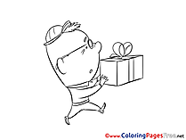 Present Birthday download Colouring Sheet free