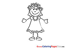 Printable Coloring Pages for free beautiful Girl