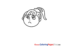 Sad Girl printable Coloring Sheets download