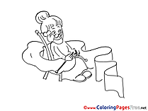 Sewing Children download Colouring Page Grandmother