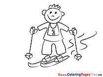 Ski Kids download Coloring Pages