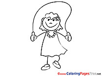 Skipping Rope Kids free Coloring Page