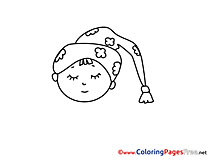 Sleeping Colouring Page printable free