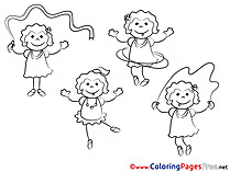 Sport Girls Colouring Sheet download free