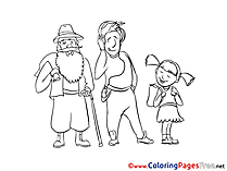 Three Persons free Colouring Page download