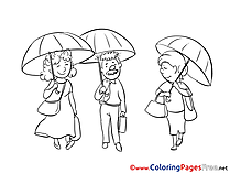 Umbrellas for Kids printable Colouring Page