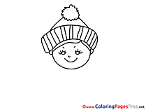 Winter printable Coloring Sheets download Woman