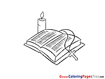 Candle Bible free Christening Coloring Sheets