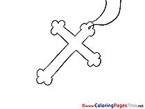 Christening Colouring Sheet free Cross