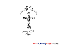 Cross printable Christening Coloring Sheets