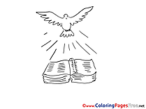 Free Colouring Page Bible Pigeon Christening