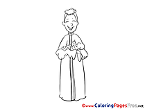 kids christening coloring page priest