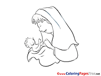 Mother for Kids Christening Colouring Page