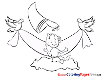 Pigeons printable Coloring Pages Christening