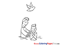 Priest Children Christening Colouring Page