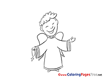 Priest Kids Christening Coloring Page