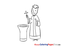 Printable Priest Christening Coloring Sheets