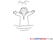 Sea Sun Christening Coloring Pages download Priest