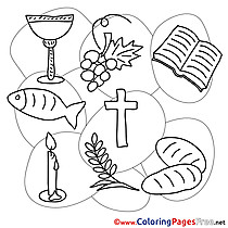 Objects free Communion Coloring Sheets