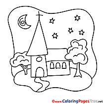 Church free Colouring Page Confirmation