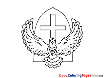 Image Cross free Colouring Page Pentecost