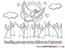 Pigeon Kids Pentecost Coloring Page