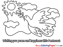 Sky Coloring Sheets Pigeon Pentecost free